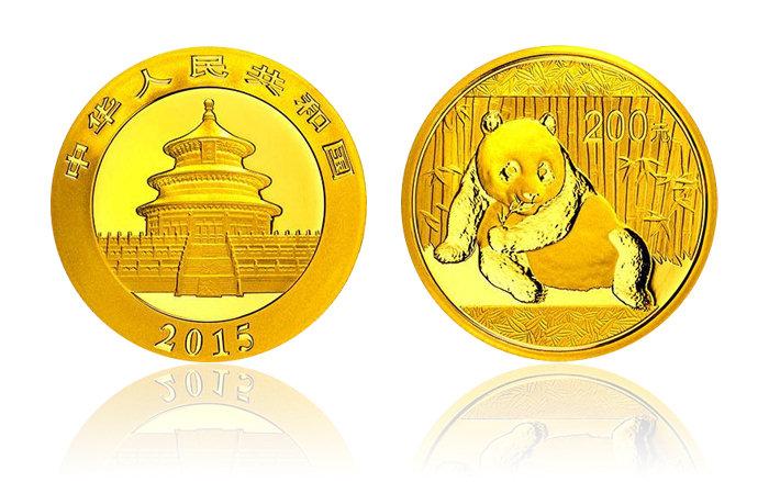2015年熊猫金银币 1/2盎司 金币