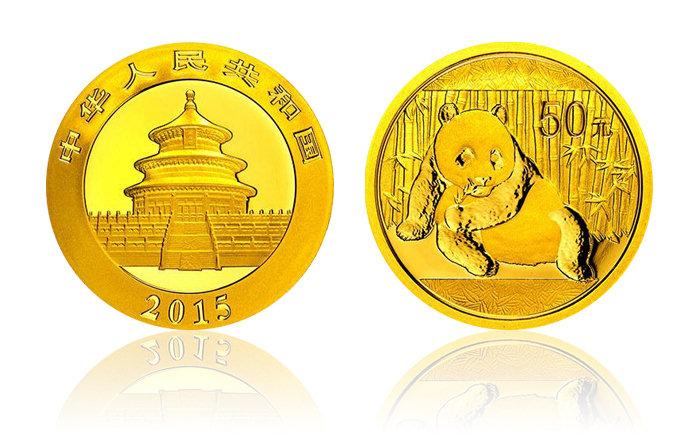2015年熊猫金银币 1/10盎司 金币