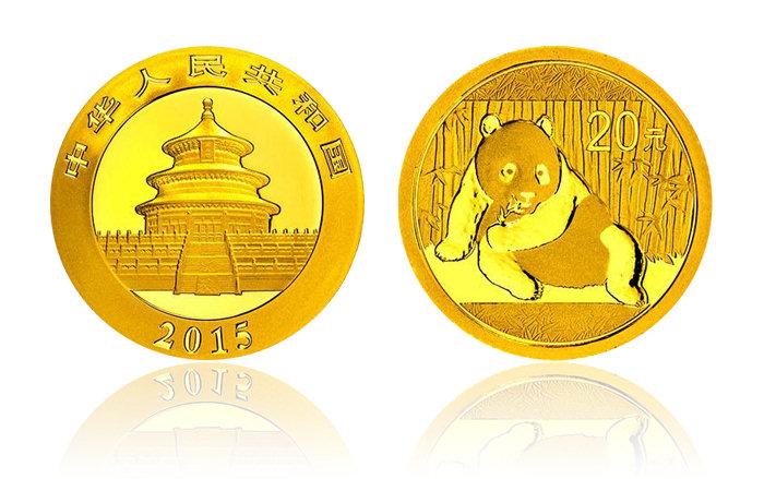 2015年熊猫金银币 1/20盎司 金币